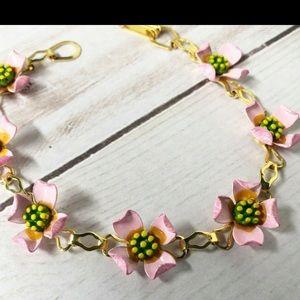 Vintage Jewelry - Vintage Pale Pink Enamel Flower Line Bracelet Boho